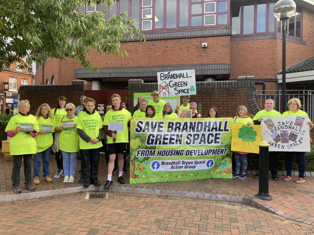 Green belt campaigners outside Sandwell Council