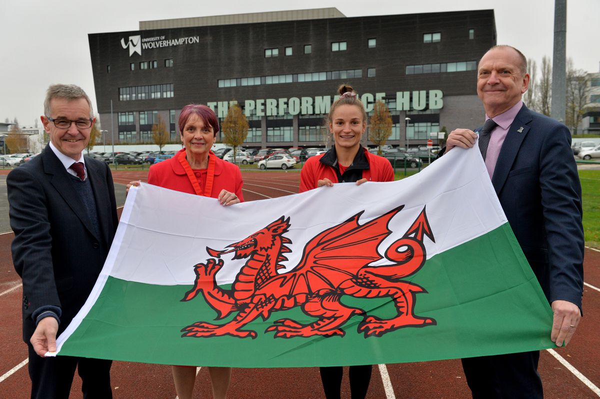 Chief executive officer of Team Wales Chris Jenkins, Deputy Mayor Rose Burley, Rugby player Jazmine Joyce and Geoff Layer, the University of Wolverhampton's vice-chancellor
