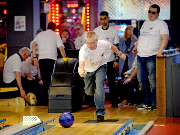 WOLVERHAMPTON COPYRIGHT EXPRESS&STAR TIM THURSFIELD 25/03/19.Kevin Betteridge in action during the bowling tournament at Tenpin, Castlegate Way, Dudley. The event was organised by Beacon Centre...