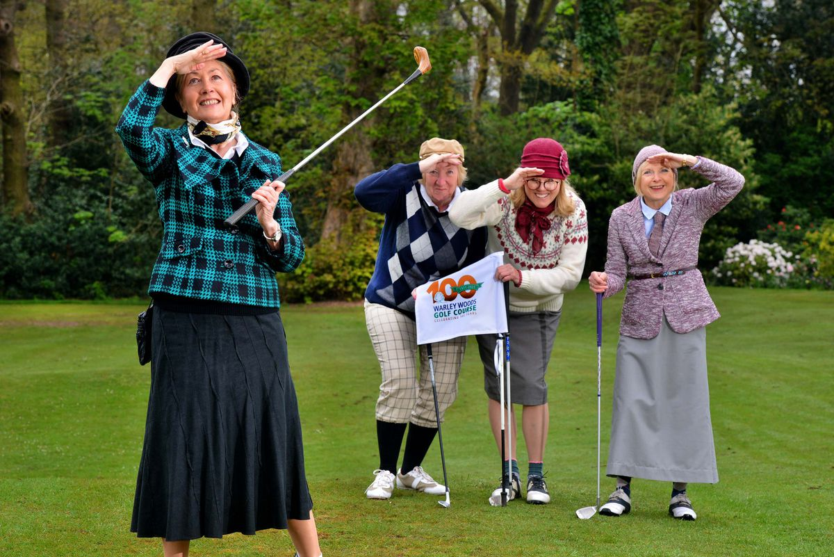 Anne Hornsby, Sue Roberts, Cathie Paton and Christine Hedges watch a shot in their 1920s outfits