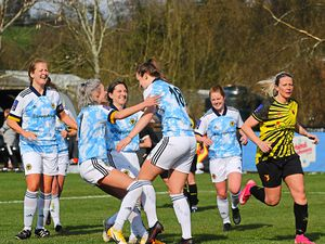 Celebration time for Wolves Women after Anna Morphet had netted in the FA Cup success at Watford           Picture: Simon Faulkner