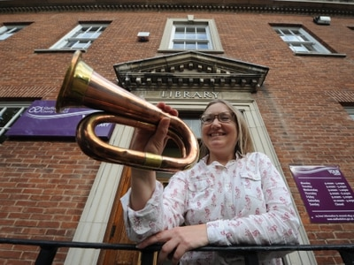 Historic bugle on display at Rugeley library