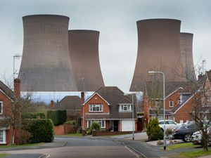 The Rugeley Power Station towers viewed from Thorn Close, in Rugeley