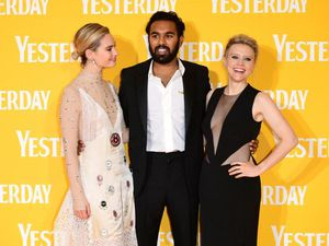 Lily James, left, Himesh Patel and Kate McKinnon attending the Yesterday UK premiere in London