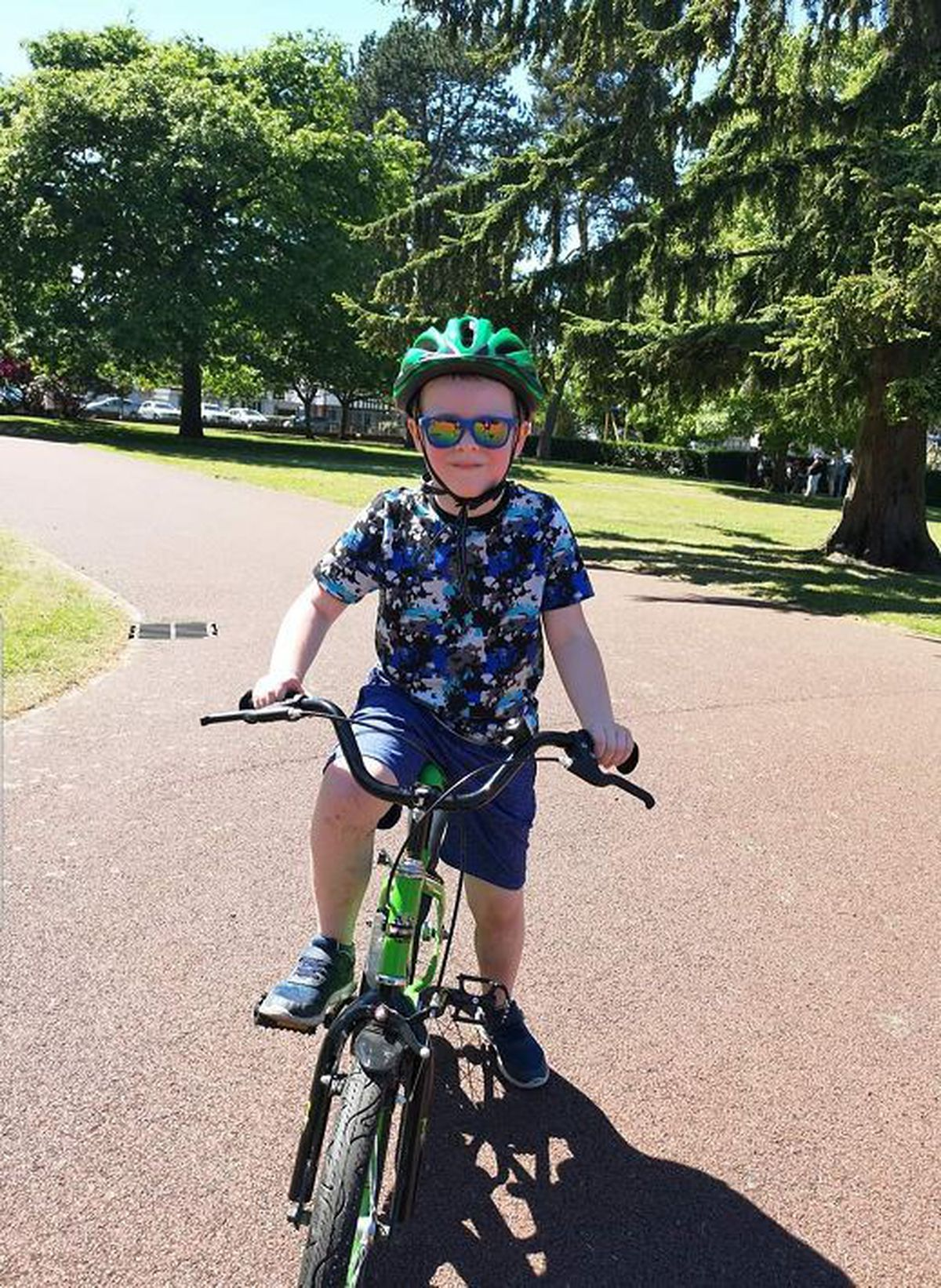 Donna Bloomer took her son seven-year-old Harrison to West Park, in Wolverhampton, to ride his bike