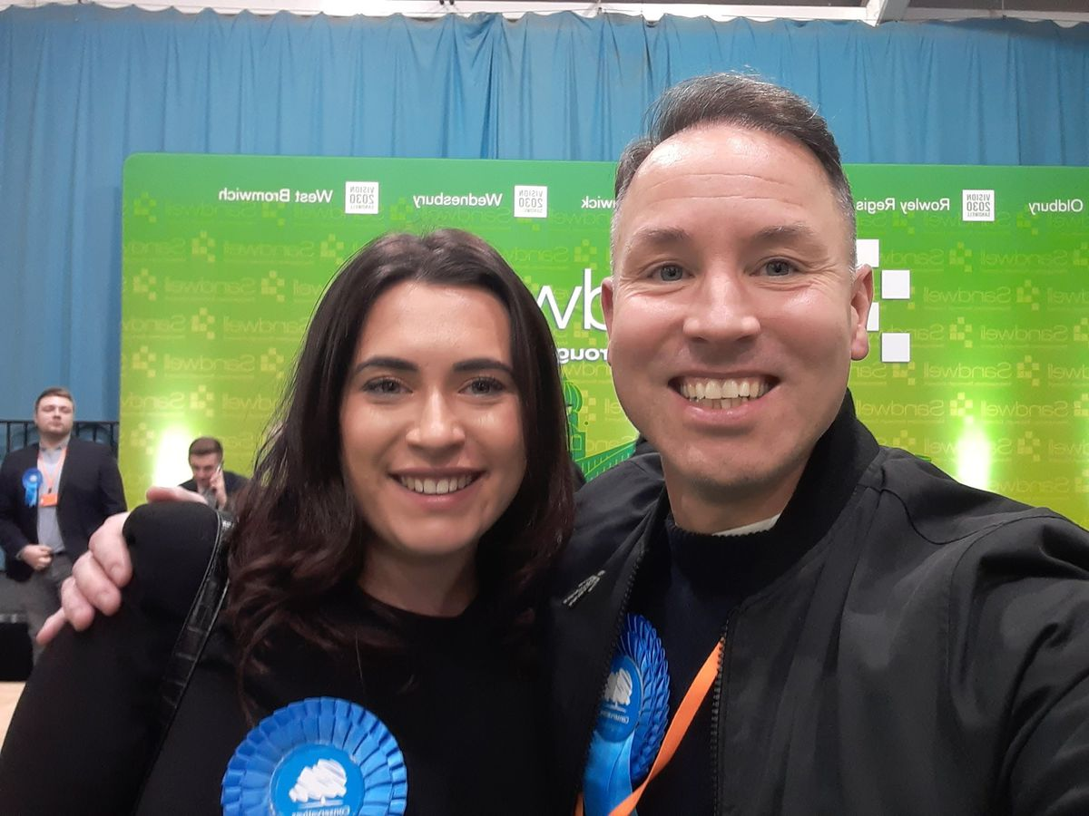 New West Bromwich East MP Nicola Richards with Conservative campaigner David Fisher