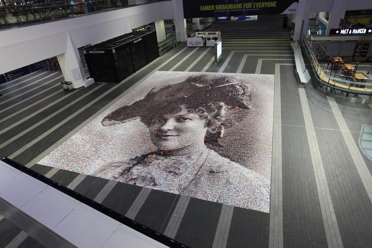 The face of Wolverhampton-born Hilda Burkitt features in the artwork at Birmingham New Street station