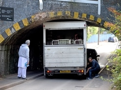 Lorry trapped under bridge in Tipton