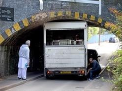 Lorry trapped under bridge in Tipton