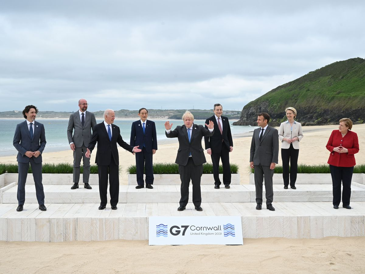 Canadian Prime Minister Justin Trudeau, president of the European Council Charles Michel, US President Joe Biden, Japanese Prime Minister Yoshihide Suga, British Prime Minister Boris Johnson, Italian Prime Minister Mario Draghi, French President Emmanuel Macron, president of the European Commission Ursula von der Leyen and German Chancellor Angela Merkel during the leaders' official welcome and family photo in Carbis Bay during the G7 summit in Cornwall