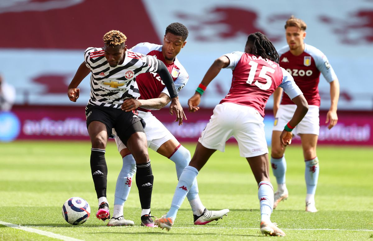 Manchester United's Paul Pogba (left) and Aston Villa's Ezri Konsa battle for the ball