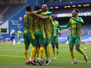 Matheus Pereira of West Bromwich Albion celebrates after he scores a goal to make it 1-2 with Matt Phillips of West Bromwich Albion and team mates. (AMA)