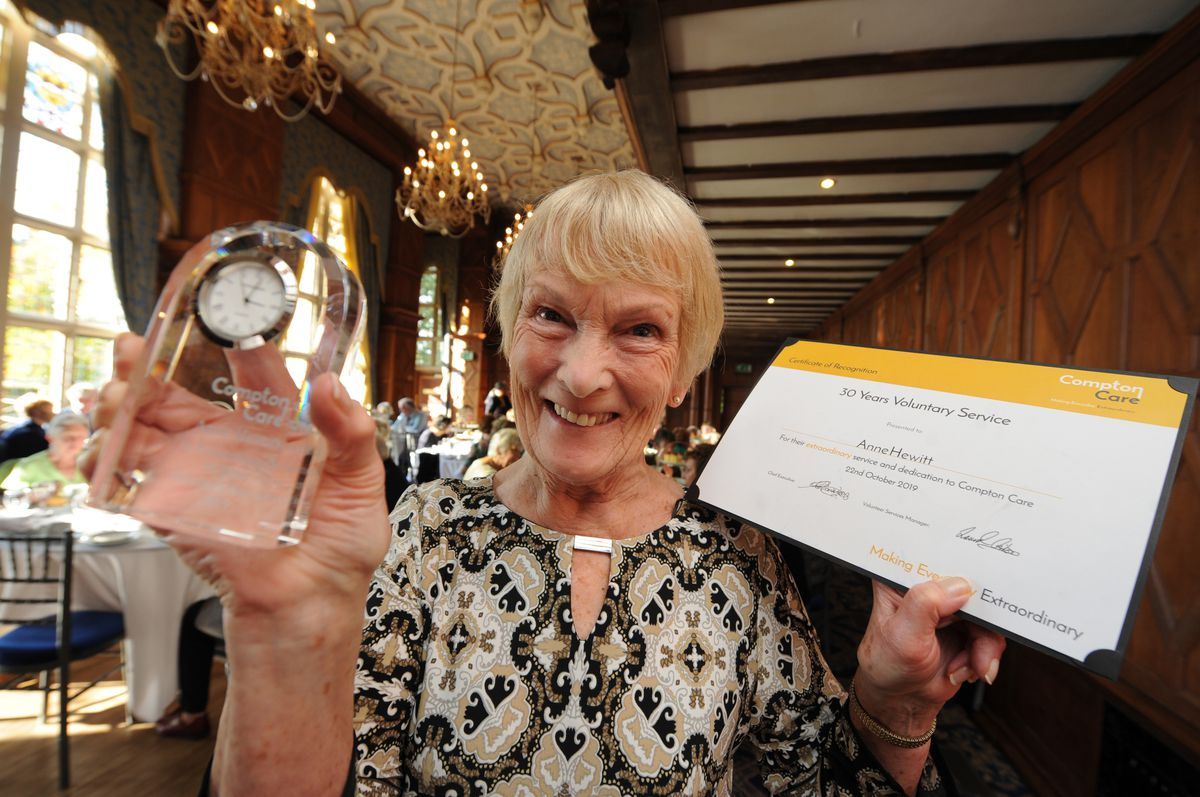 Anne Hewitt was recognised for 30 years of voluntary service with Compton Care