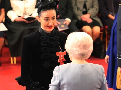 A towering success: Brownhills model Erin O'Connor gets her MBE from the Queen