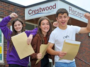 Sophie Bagley, Maya Bowles and Harrison Toy from Crestwood School are among the teenagers receiving their GCSE results