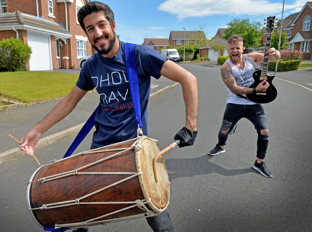 Ravi Bakshi a Medical Student and Rob Harris a Delivery Driver for NHS, have been entertaining neighbours and as a tribute to the NHS by collaborating the dhol and guitar