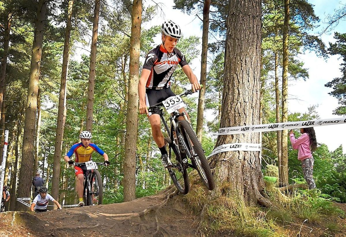 A biker competing in the National Mountain Bike Championships at Cannock Chase