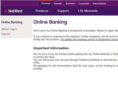 RBS, NatWest and Ulster Bank customers locked out of online accounts
