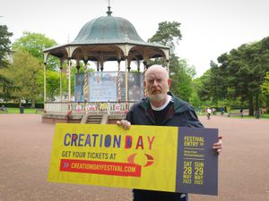 Alan McGee in West Park, Wolverhampton, to see the site for Creation Day 2022