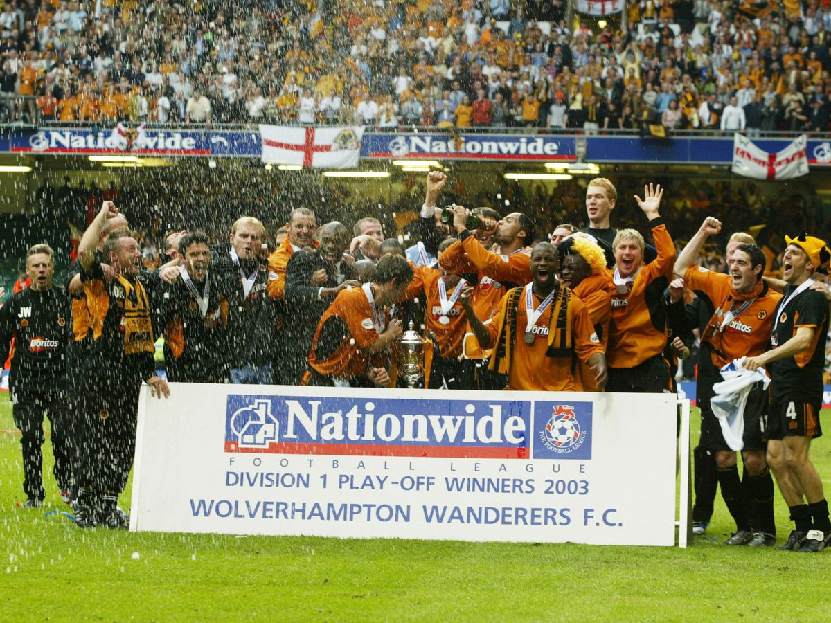 Wolves' celebrate after the Nationwide Division One play-off final against Sheffield United at the Millennium Stadium, Cardiff, Monday May 26, 2003. Wolverhampton Wanderers gained promotion into the Premiership after defeating Sheffield United 3-0. PA Photo: David Davies.    THIS PICTURE CAN ONLY BE USED WITHIN THE CONTEXT OF AN EDITORIAL FEATURE. NO UNOFFICIAL CLUB WEBSITE USE.
