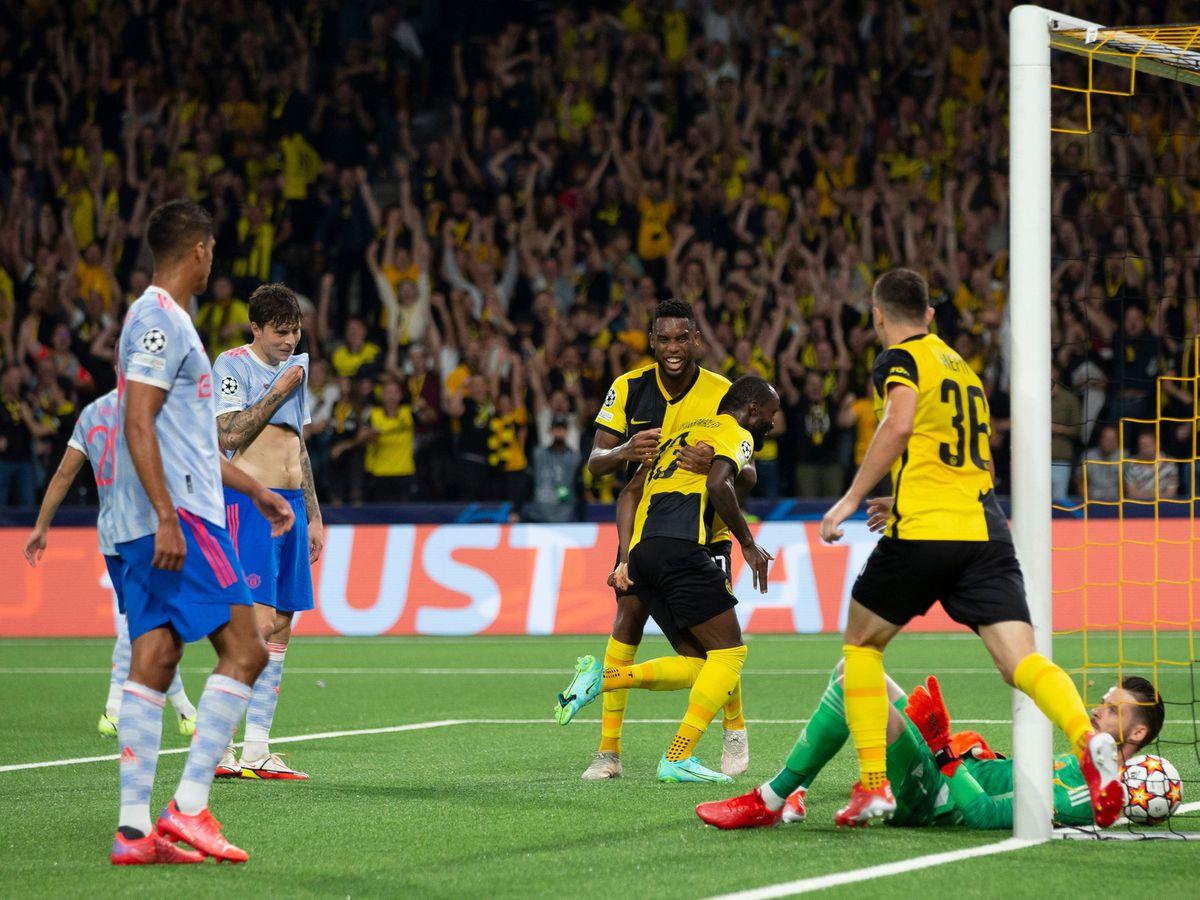 Young Boys celebrate a goal
