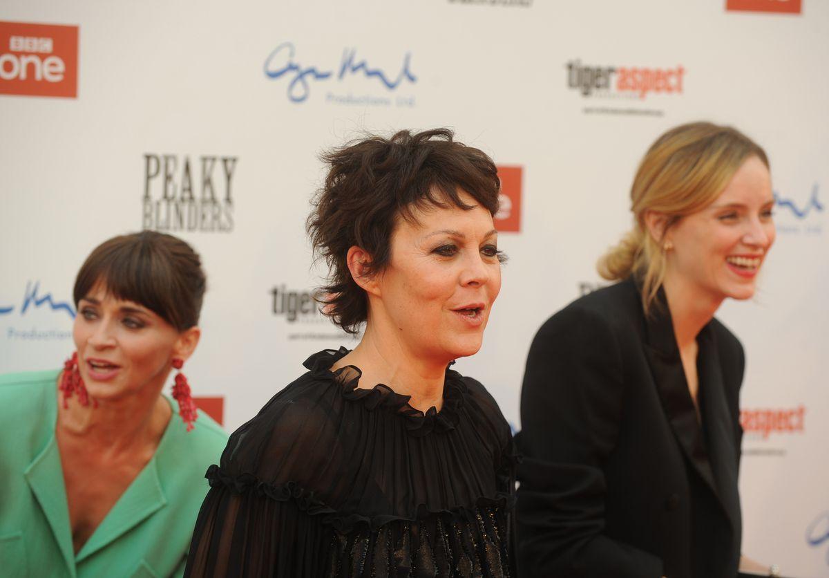 Peaky Blinders premiere, Birmingham Town Hall. (left-right) Charlene McKenna, Helen McCrory, and Sophie Rundle