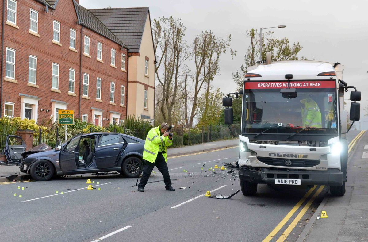 Collision investigators at the scene on Leamore Lane