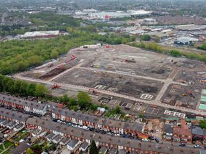 Aerial shot showing work progressing on the huge housing development at the former Caparo Engineering works in Walsall