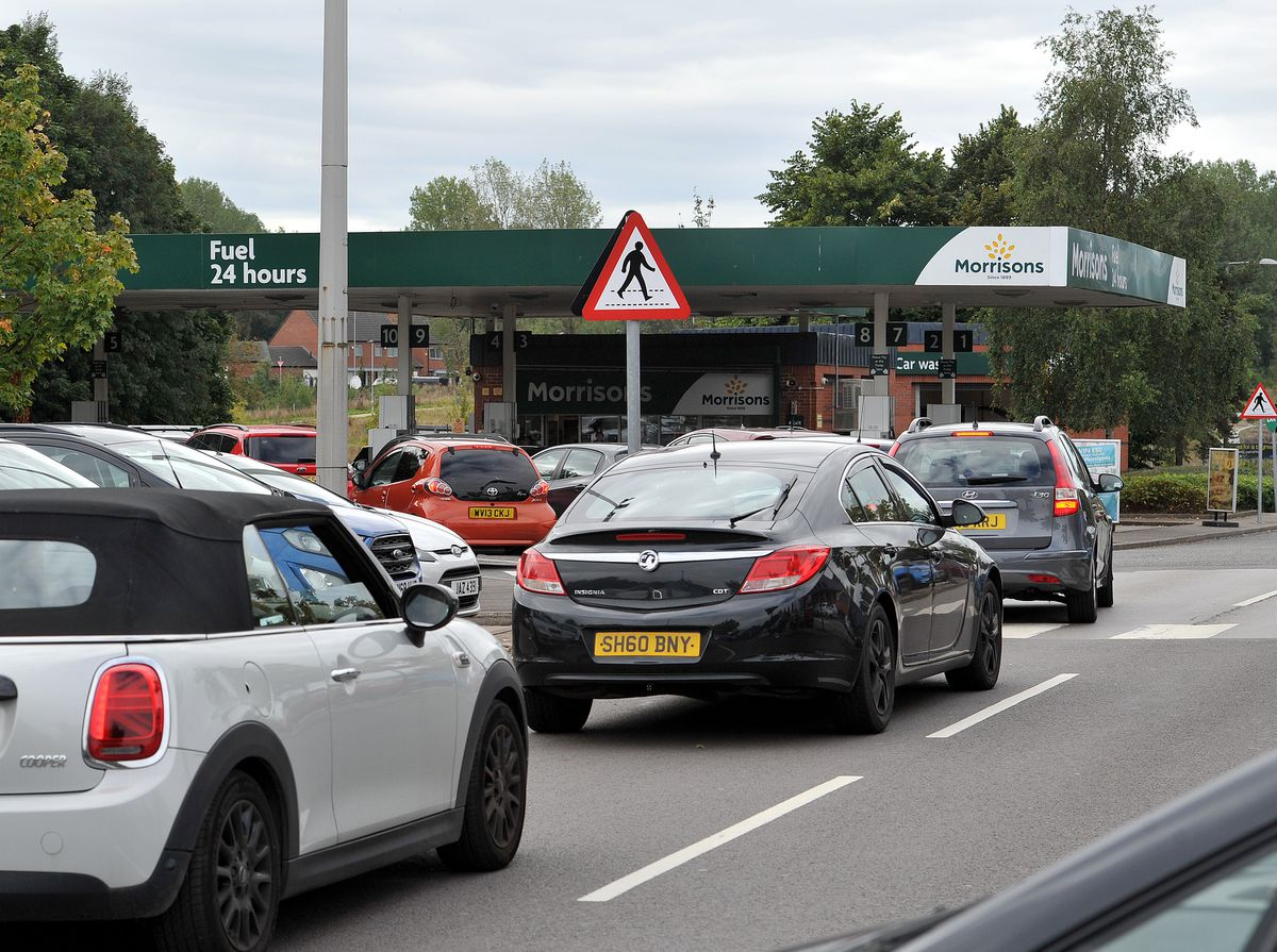 Drivers queuing at Morrisons, Bilston