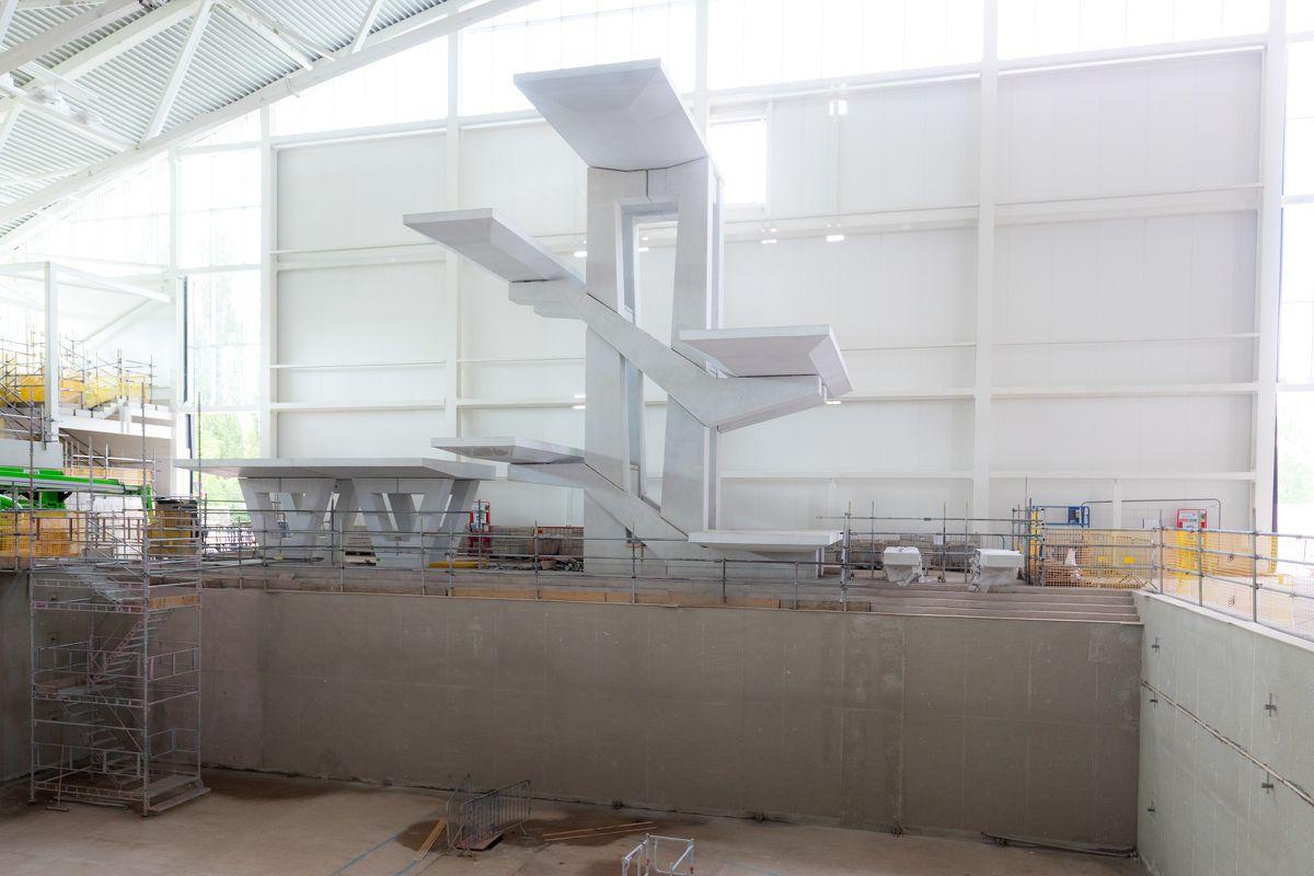 Inside the Sandwell Aquatics Centre