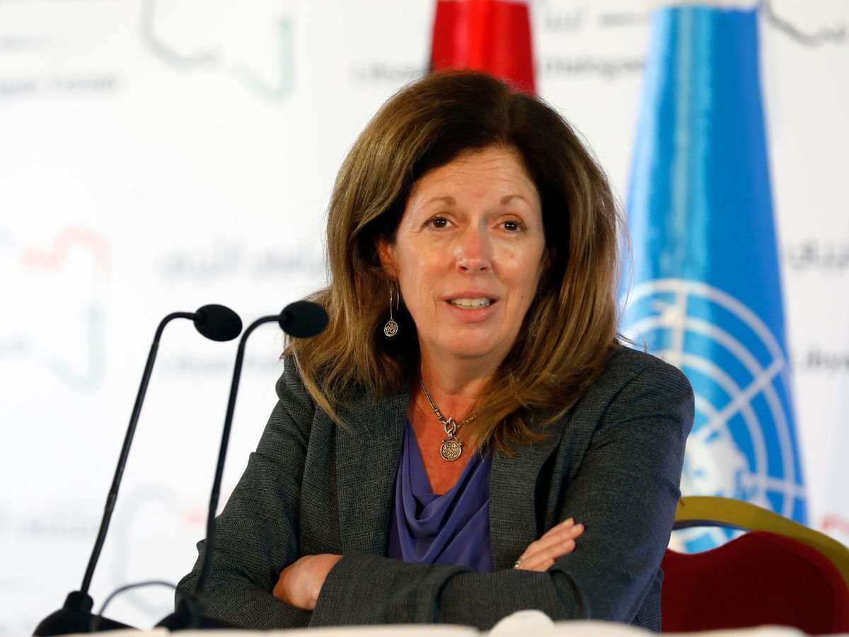 Stephanie Williams, acting special representative of the Secretary-General and Head of the United Nations Support Mission speaks during a news conference (Walid Haddad/AP)
