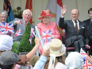 The Queen and Duke watching the pageant at the diamond jubilee celebrations at RAF Cosford