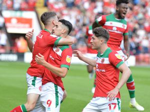 SPORT PIC MNA PIC  DAVID HAMILTON PIC  EXPRESS AND STAR 28/8/21 WALSALL VS STEVENAGE Conor Wilkinson celebrates the opening goal..