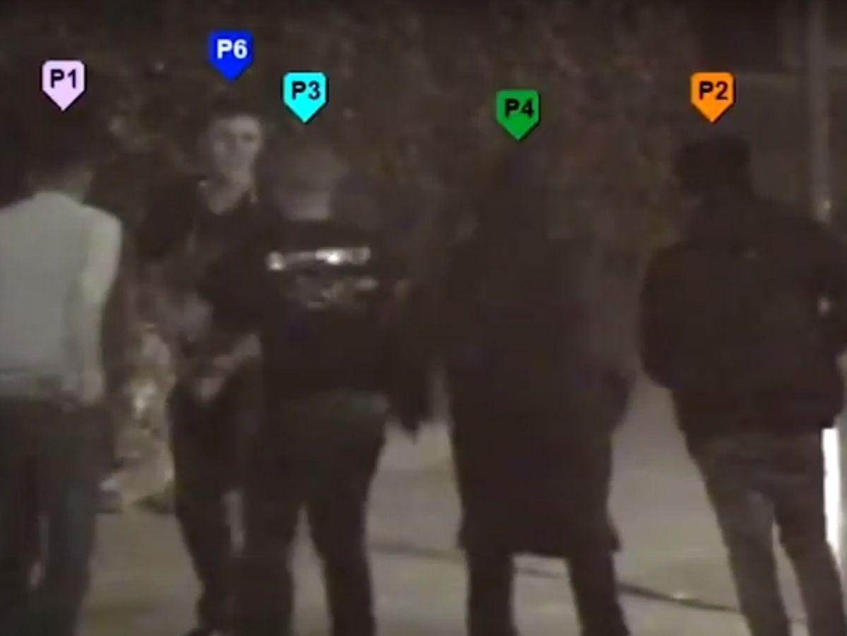 A still from CCTV showing four men attack murder victim Jack Donoghue