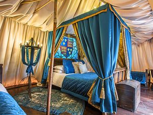 A night under the stars – the Kings tent is a luxurious place to be with all mod cons