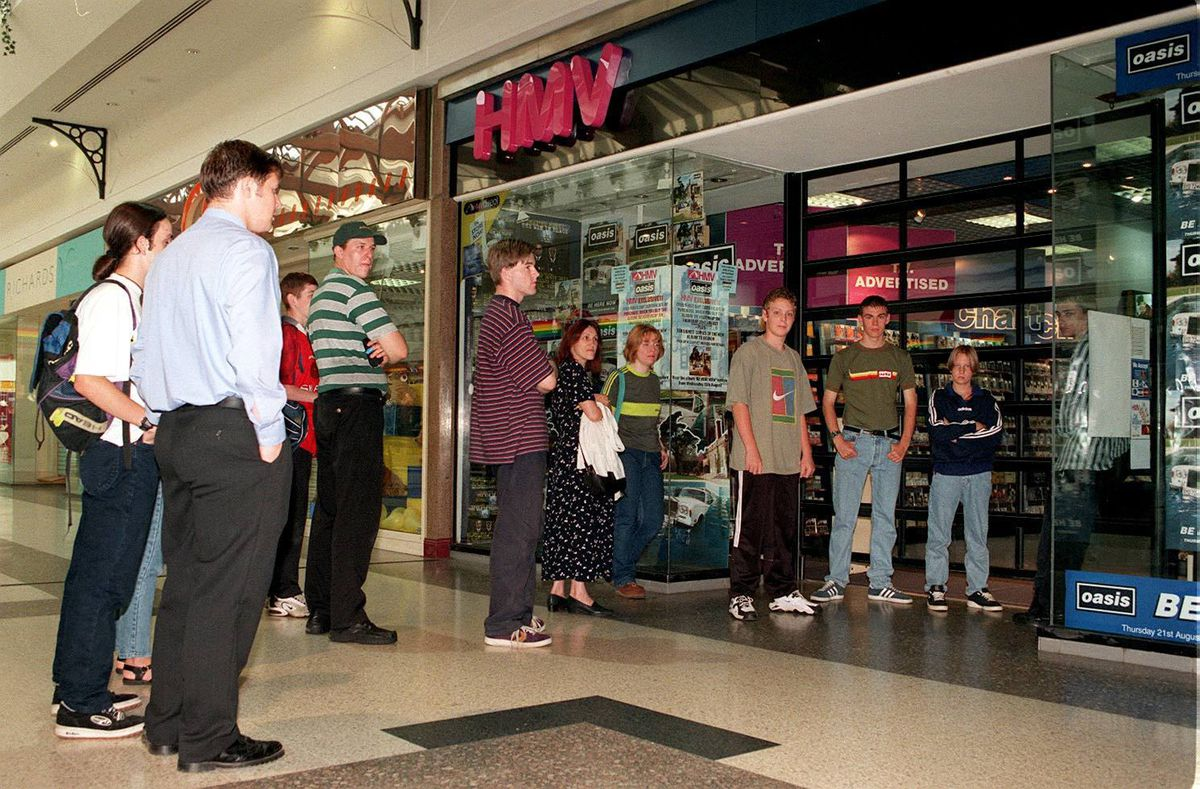 Morning Glory – customers queuing up outside HMV Telford to buy Oasis's latest album in 1997