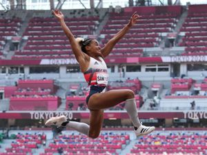 Great Britain's Jazmin Sawyers during the Women's Long Jump Qualification at the Olympic Stadium on the ninth day of the Tokyo 2020 Olympic Games in Japan. Picture date: Sunday August 1, 2021. PA Photo. See PA story OLYMPICS Athletics. Photo credit should read: Martin Rickett/PA Wire.    RESTRICTIONS: Use subject to restrictions. Editorial use only, no  commercial use without prior consent from rights holder.