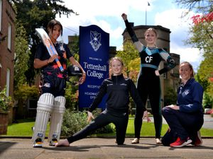 WOLVERHAMPTON COPYRIGHT EXPRESS AND STAR STEVE LEATH 27/05/2021..Pic at Tettenhall College where they have some upcoming sports stars: Cricketer: Davina Perrin 14, Gymnast: Gabriella Williams 14 and Cheerleader: Scarlett Wright 14, on some is also Head of PE and Sport: Ali Causebrook..