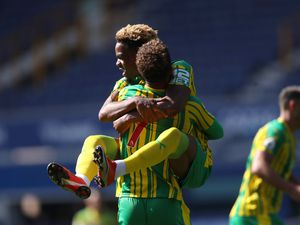 Grady Diangana of West Bromwich Albion celebrates after scoring a goal to make it 0-1 with Callum Robinson of West Bromwich Albion.