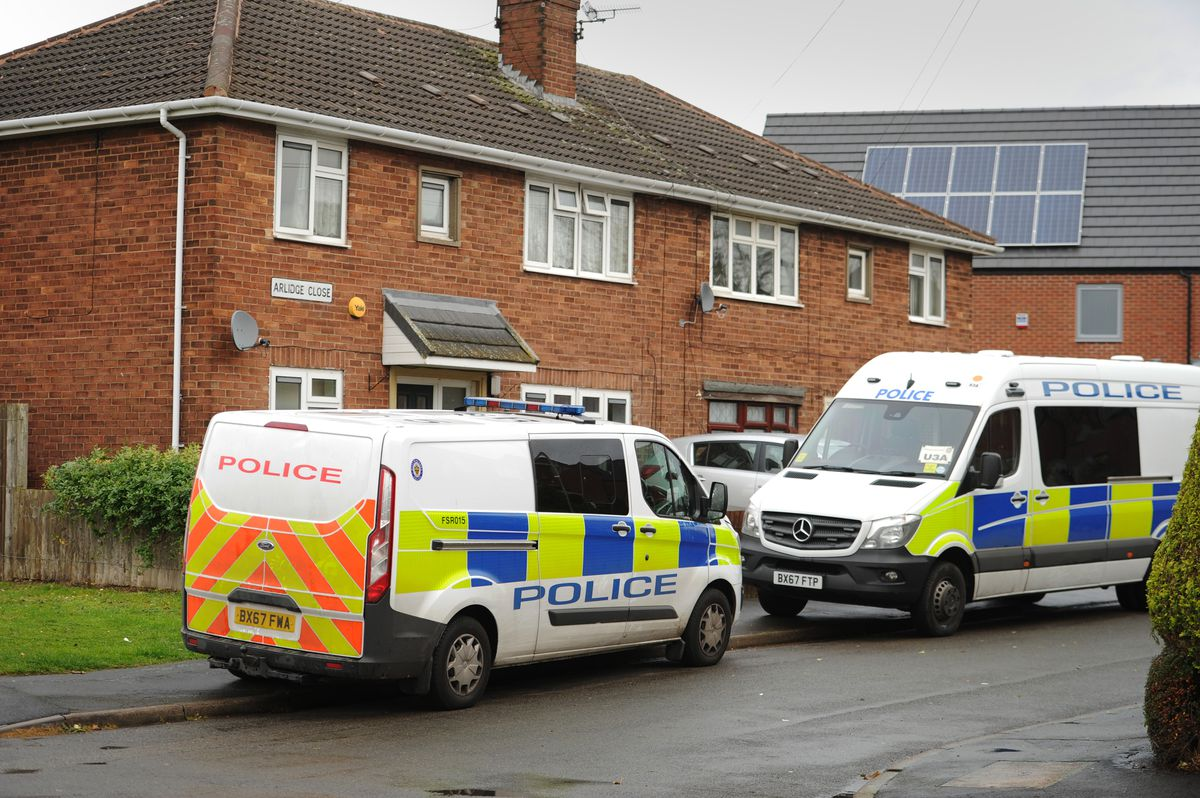 Police at Arlidge Close in Bilston on Tuesday morning