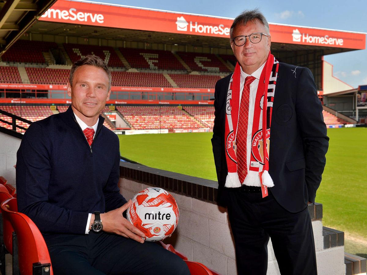 Walsall boss Matt Taylor and chairman Leigh Pomlett
