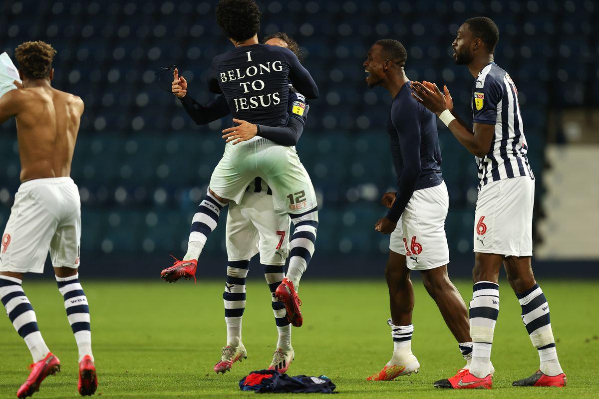 Matheus Pereira of West Bromwich Albion celebrates promotion. (AMA)