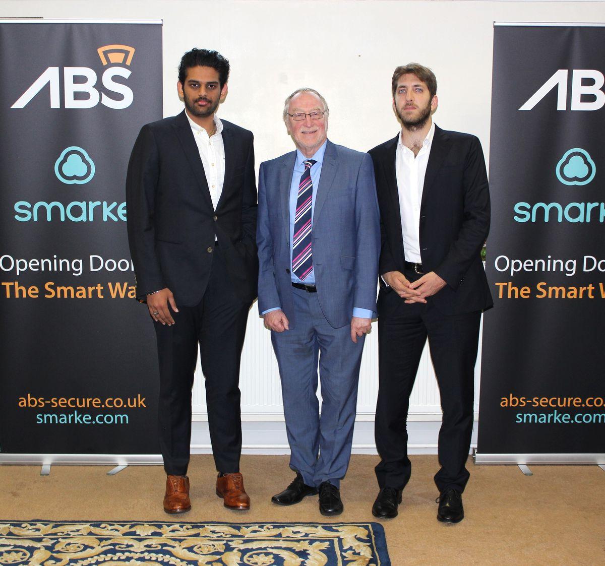 From left, Lyric Jain of Eliza Tinzley, West Bromwich West MP,  Adrian Bailey and Bassam Beidasfrom Smarke