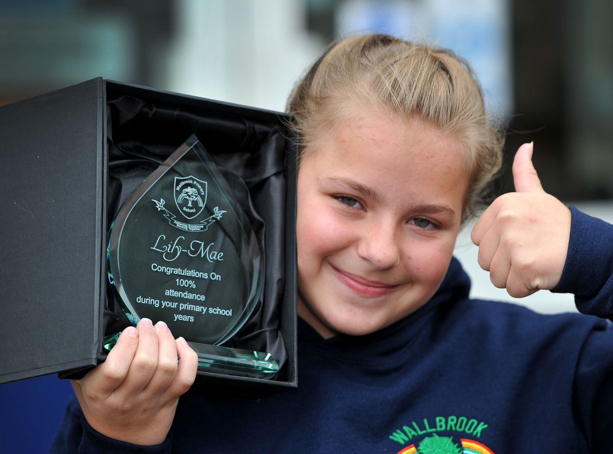 Year 6 pupil Lily-Mae Pilcher, from Wallbrook Primary School, Bilston, who has achieved 100 per cent attendance for seven years