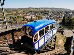 LAST COPYRIGHT SHROPSHIRE STAR JAMIE RICKETTS 19/04/2021 - The Bridgnorth Cliff Railway has reopened today. In Picture:.