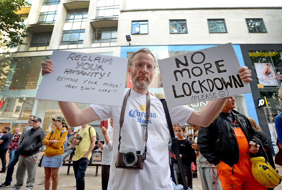 Anti-lockdown protestors took to the streets of Birmingham, only a day after new measures to curb the rising rates of coronavirus in the city were announced