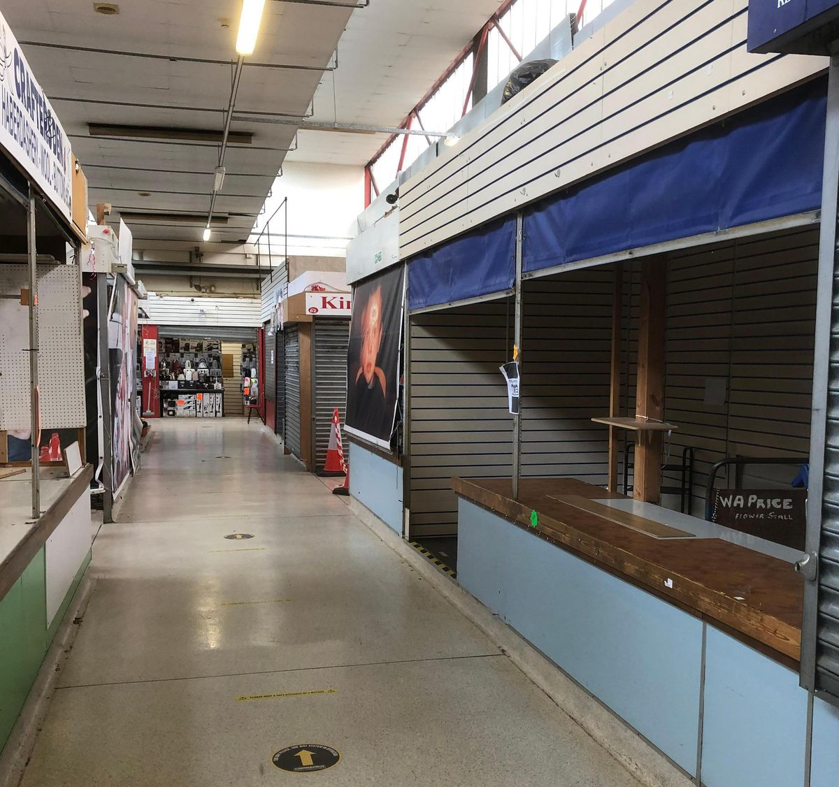 Empty aisles at West Bromwich Indoor Market