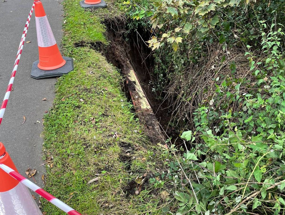 The A454 Bridgnorth Road was shut due to the partial collapse of the Smestow Brook embankment. Photo: Wolverhampton Council