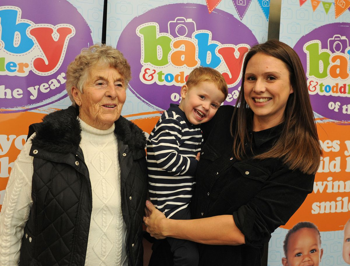 Winner of the 19 to 35 months category Billy Bushell, with mother Amy Jones and grandmother Gwenny Pitt