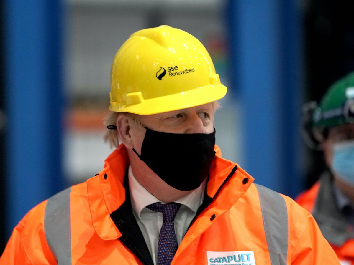 Prime Minister Boris Johnson during a visit to the National Renewable Energy Centre in Blyth, Northumberland